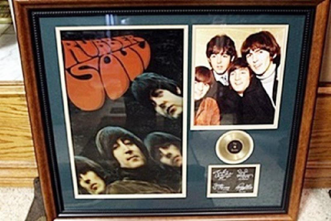 3d Picture with Gold Record The Beatles framed