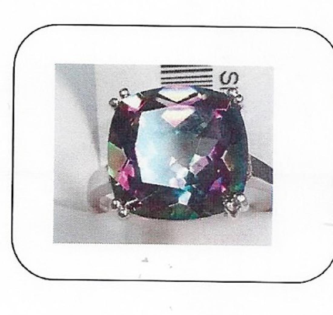 Lady's silver lab alexandrite/diamond ring
