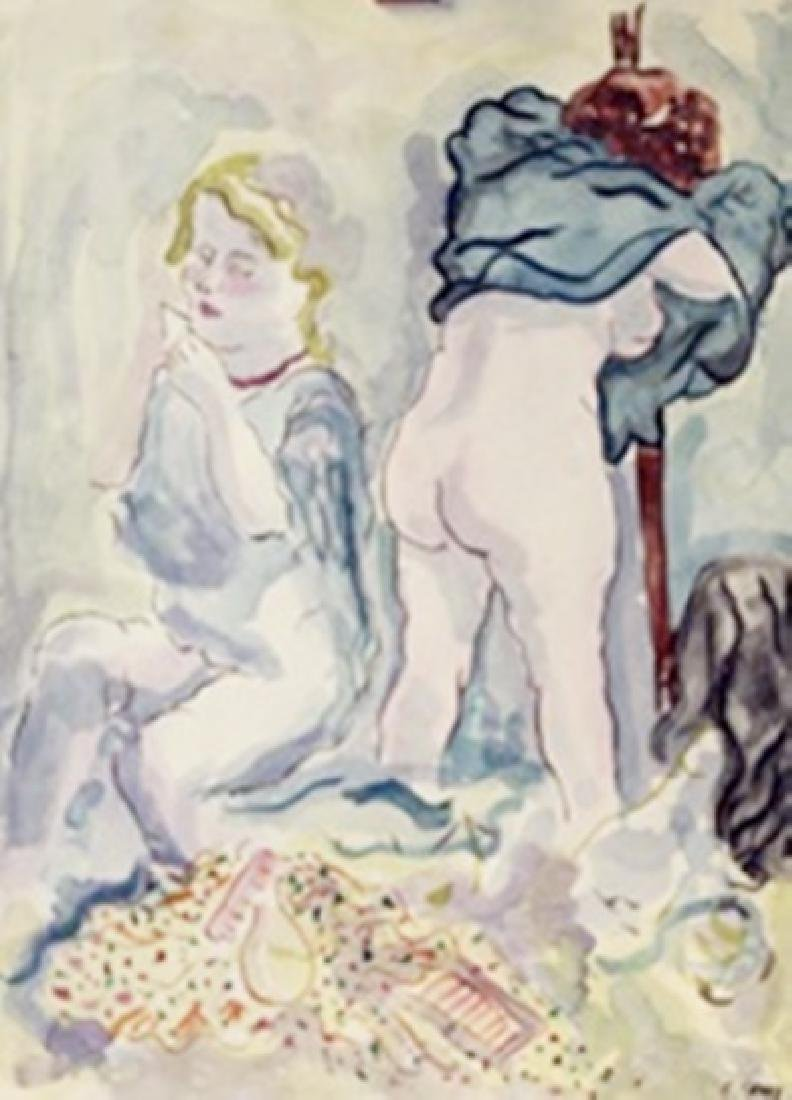 Two Women - George Grosz - Watercolor On Paper