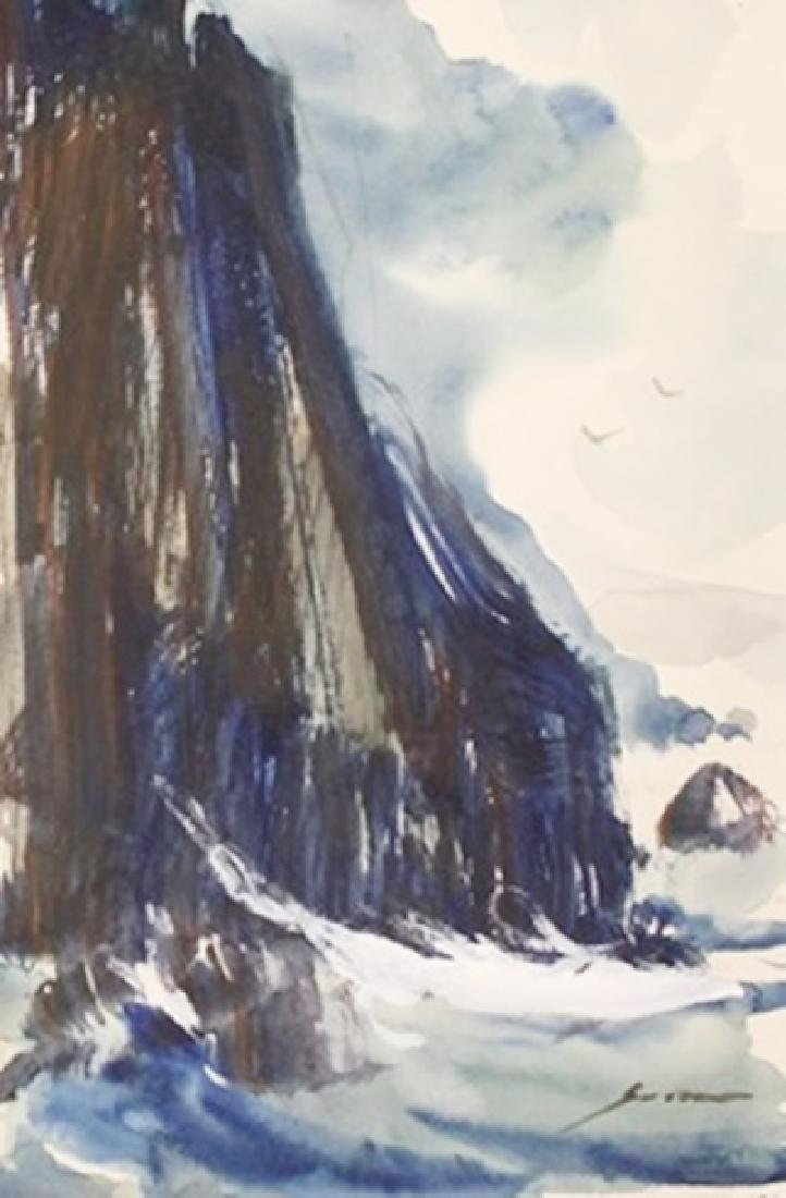 """Original Watercolor on Paper """"The Seaside Cliffs"""" by"""