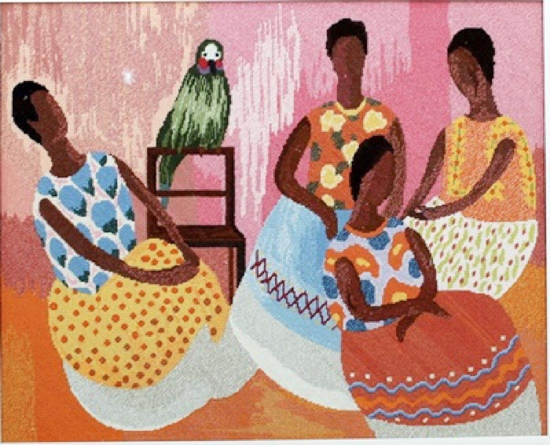 Four Women and a Parrot - Lithograph