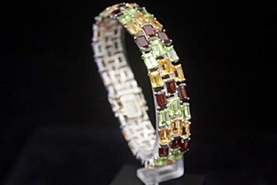 Lavish Peridot, Garnet & White Sapphire Silver Bracelet