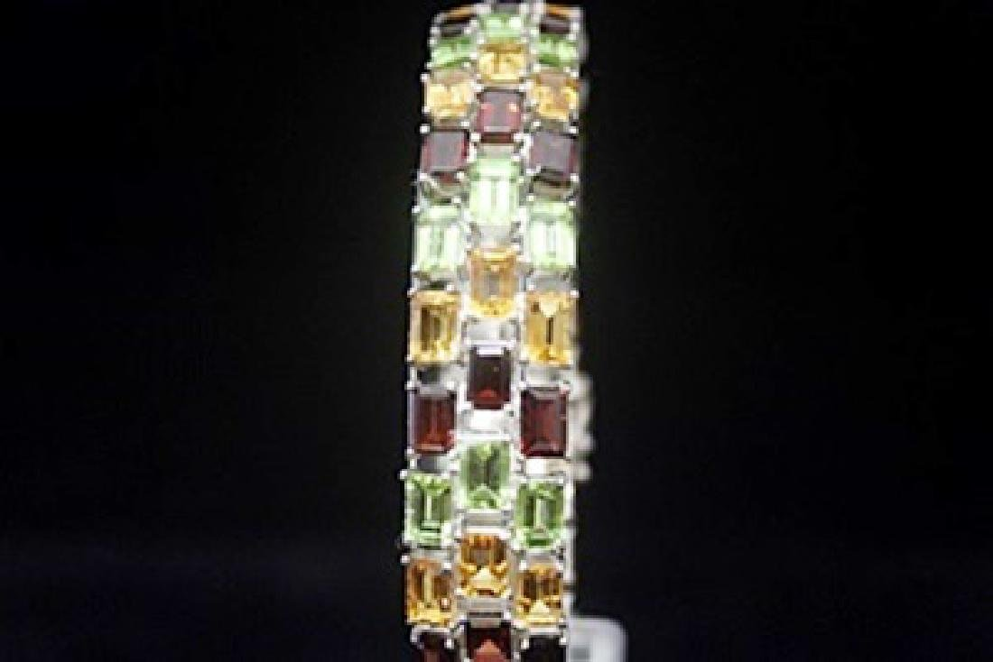 Lavish Peridot, Garnet & White Sapphire Silver Bracelet - 2