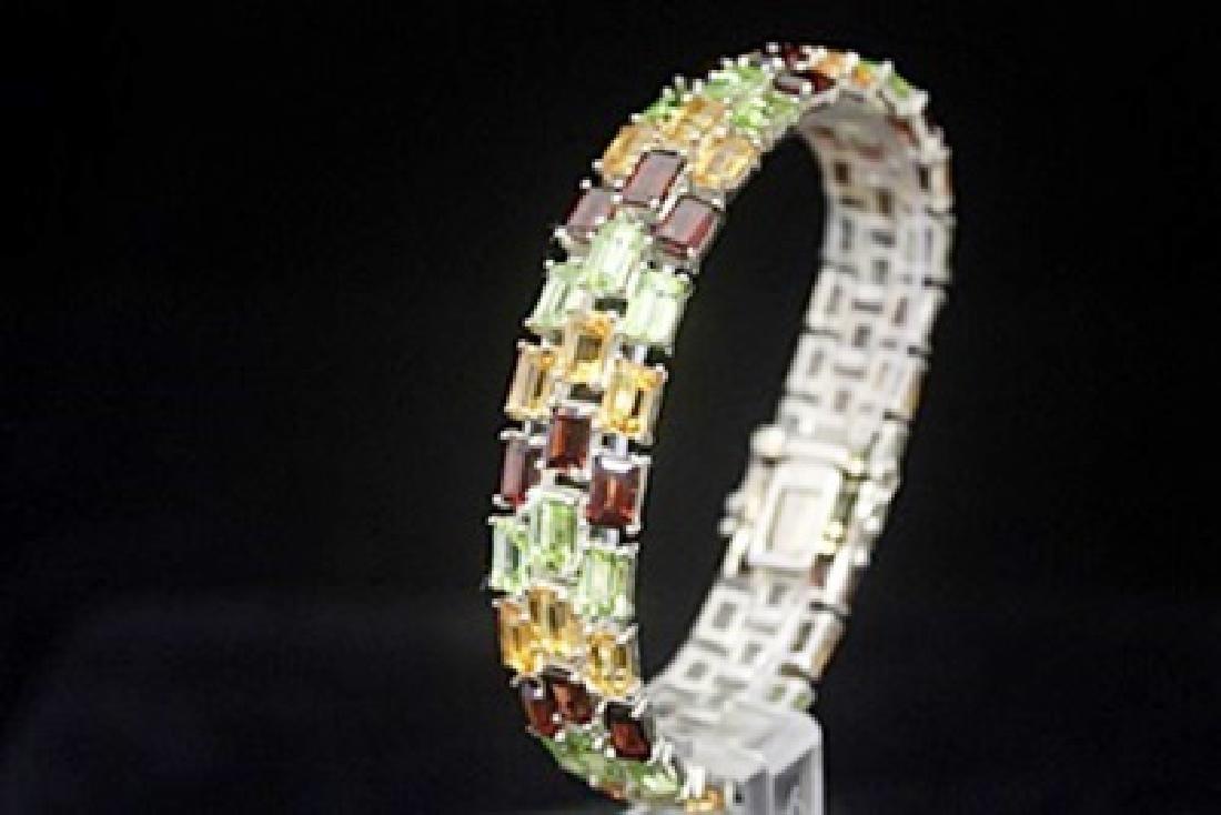 Lavish Peridot, Garnet & White Sapphire Silver Bracelet - 3