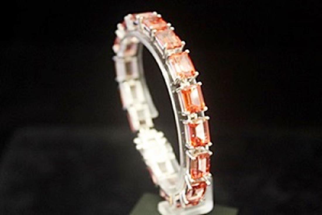 Dazzling Orange Red Tourmaline Silver Bracelet