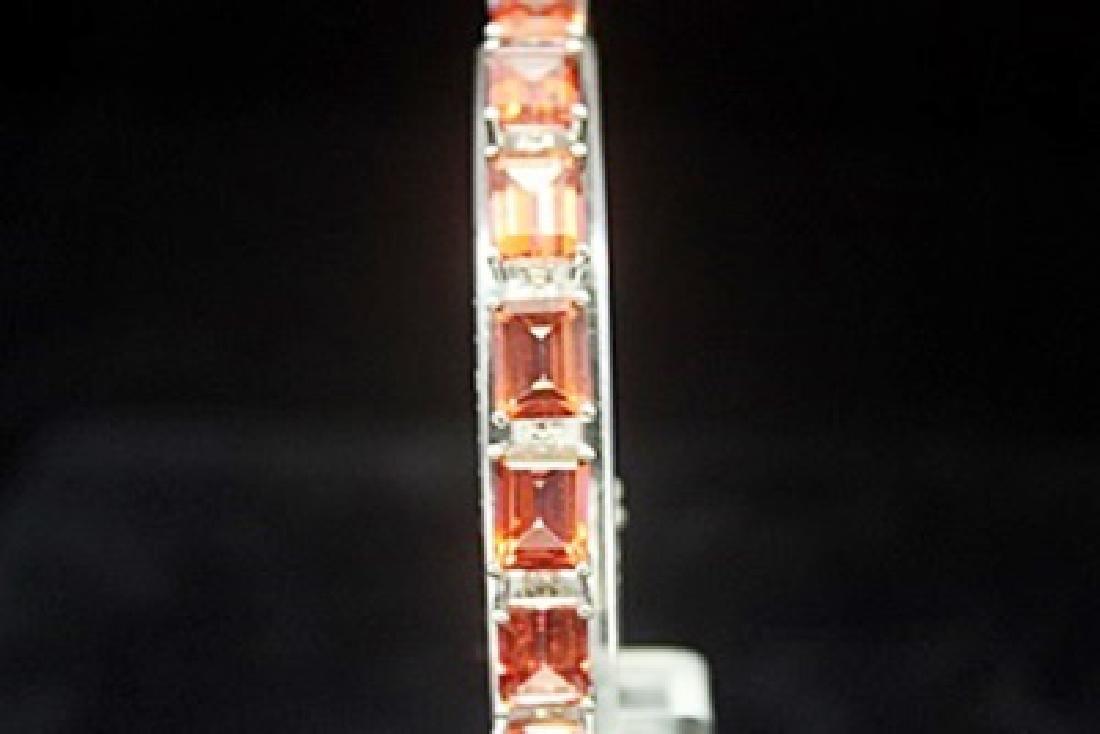 Dazzling Orange Red Tourmaline Silver Bracelet - 2