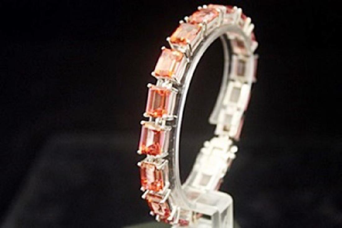 Dazzling Orange Red Tourmaline Silver Bracelet - 3