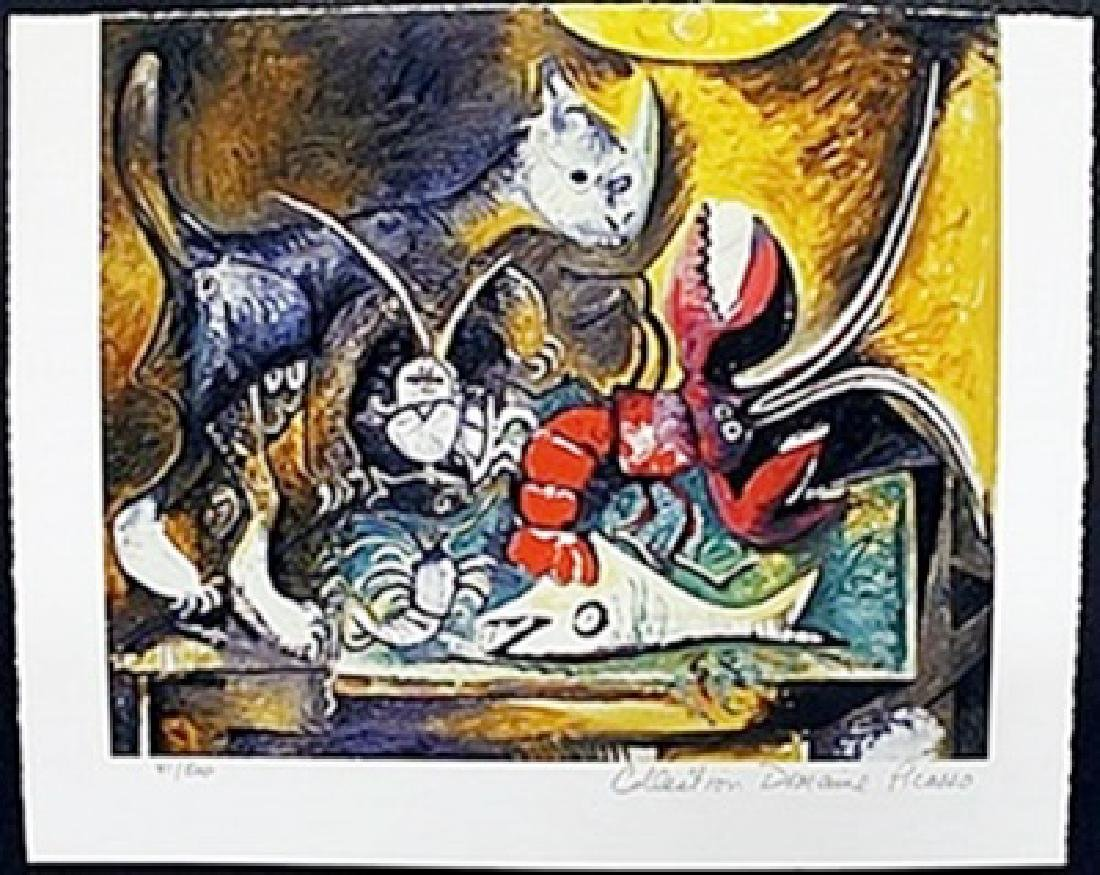 """Lithograph """"The Lobster and Cat""""  Pablo Picasso"""