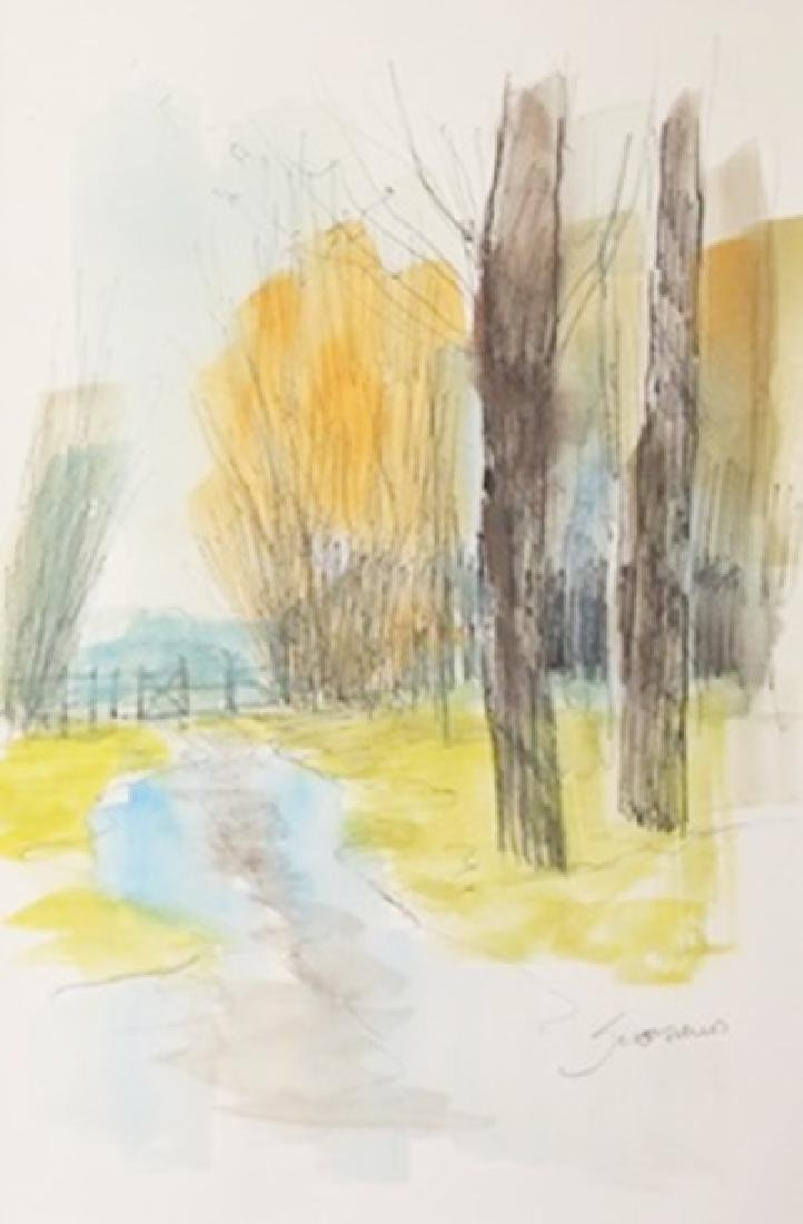 """Original Ink & Watercolor on Paper """"Puddle Path"""" by"""