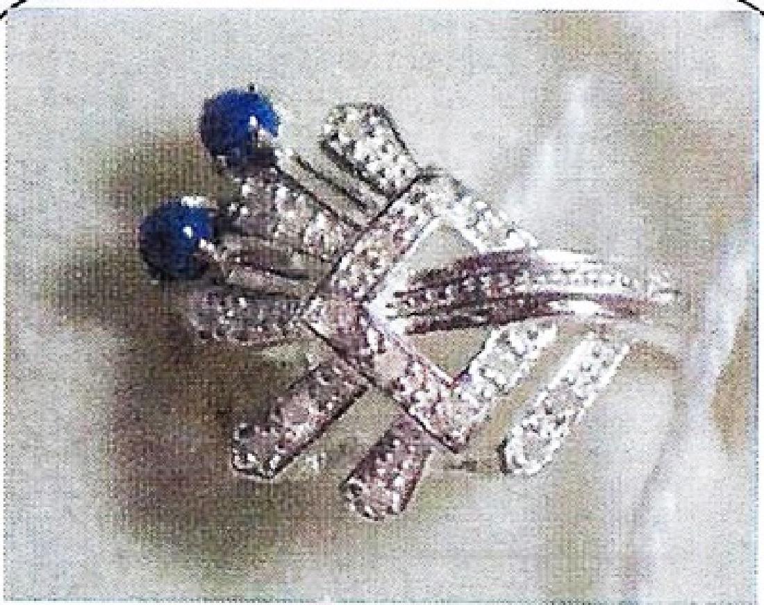 Ladys silver lapis/diamond ring