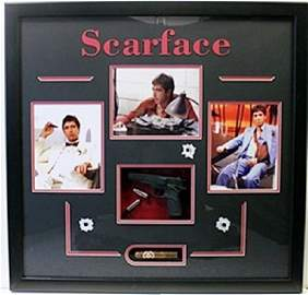 Scarface Movie Photo Collage W/ Model Gun, Bullets, and
