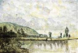 The Marne At Chenneviere - Camille Pissaro - Pastel On
