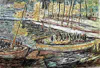Fishing Boats At Collioure - Henri Martin - Pastel On