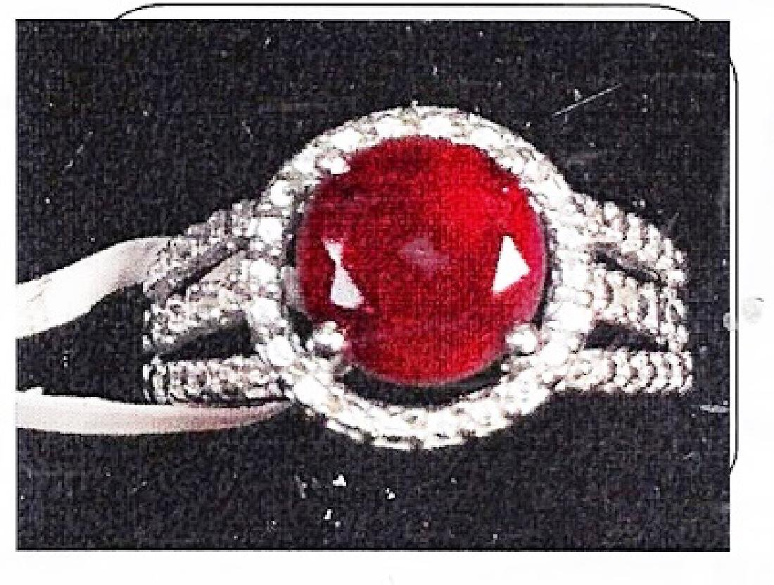 Lady's silver ruby ring