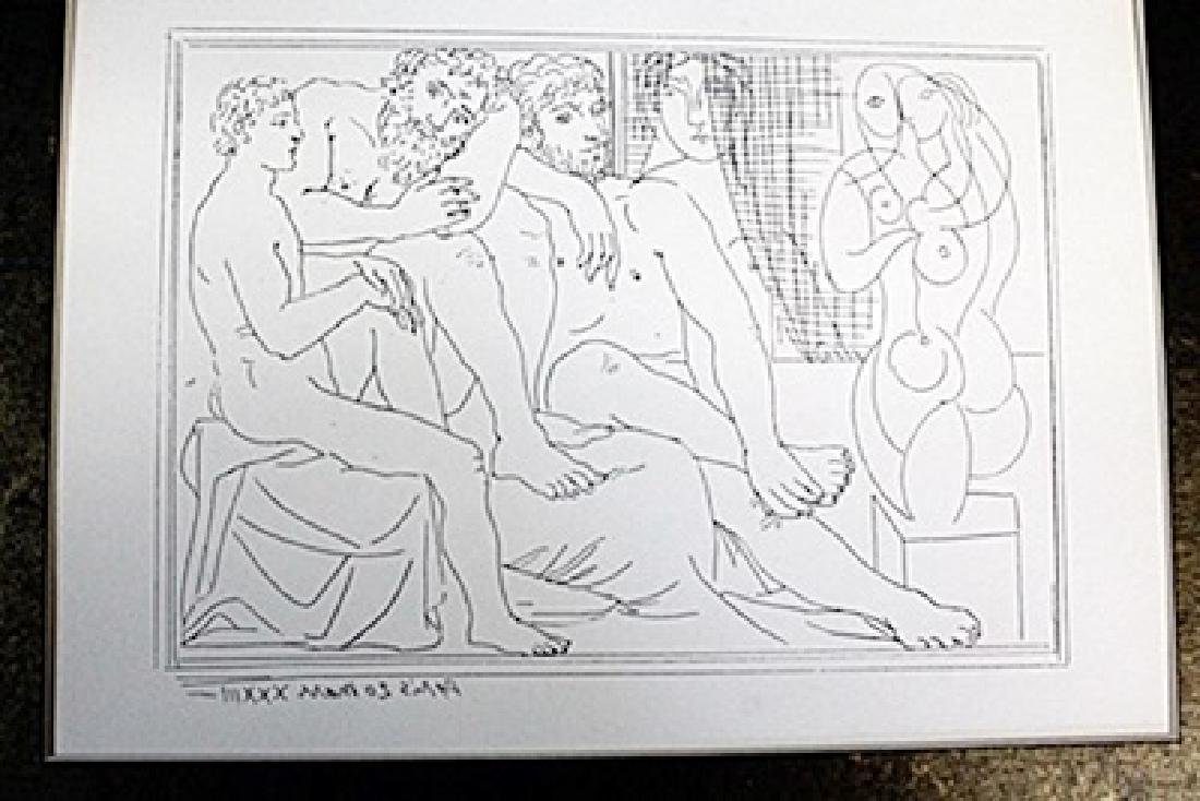 """Two Sculptors w/ Male and Female Model""  Lithograph by"