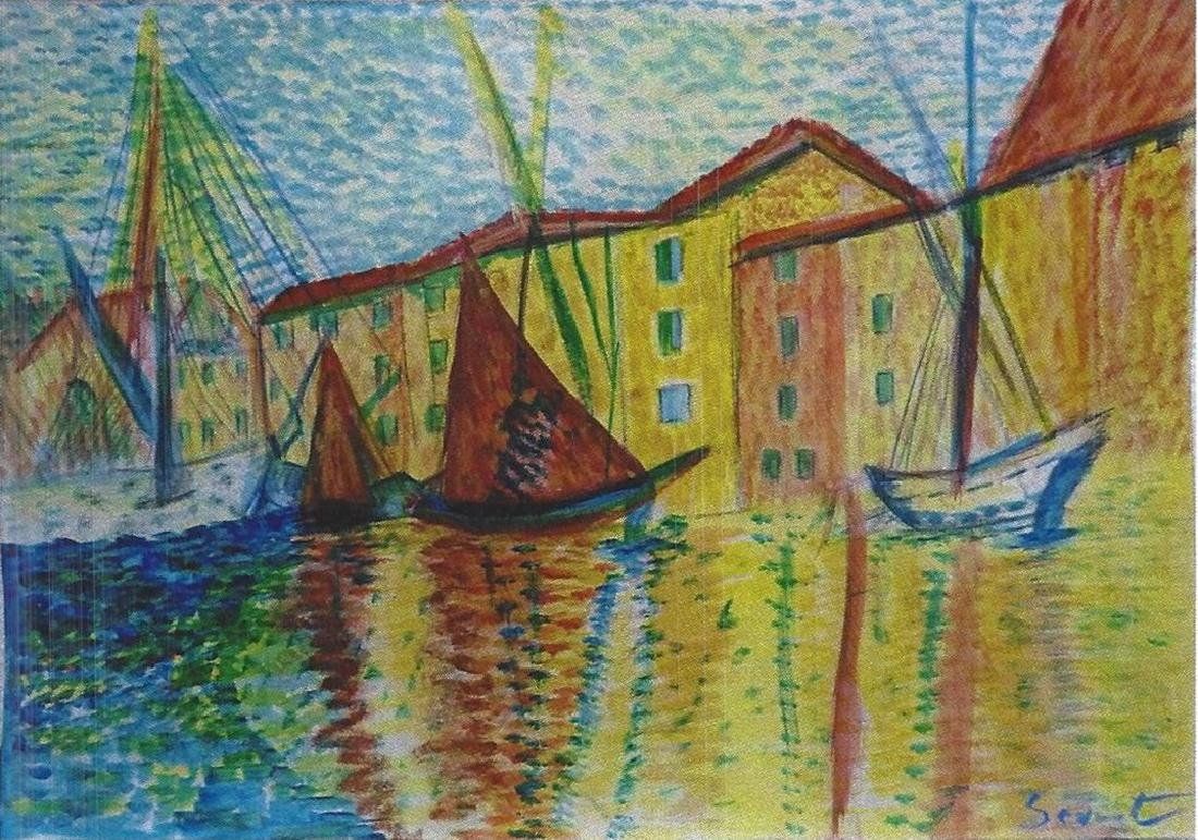 The Channel at Gravelines - Georges  Seurat - Pastel On