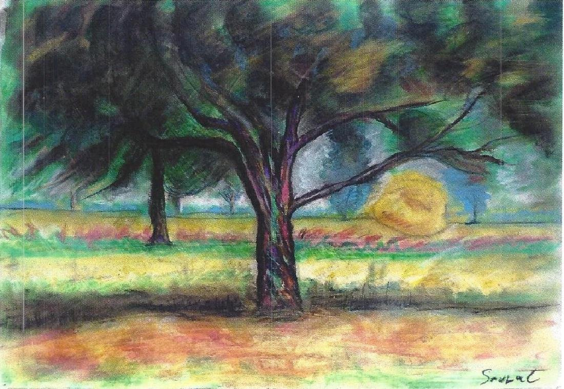 The Tree - Georges  Seurat - Pastel On Paper