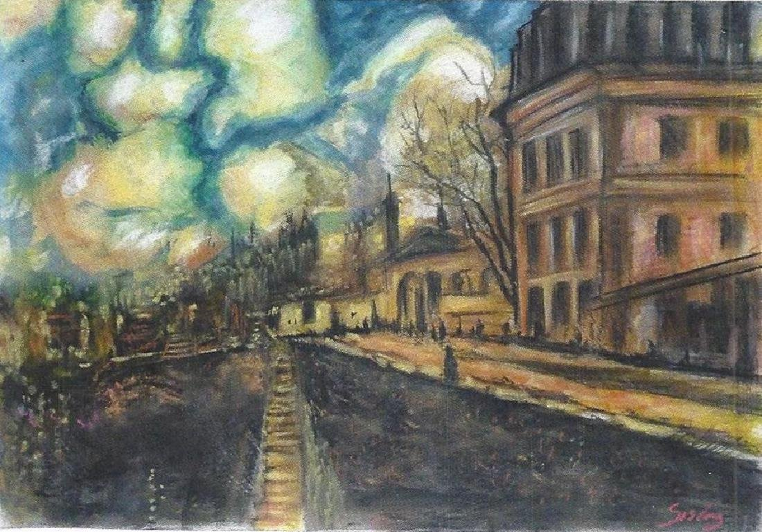 The Moret Bridge - Alfred Sisley - Pastel On Paper