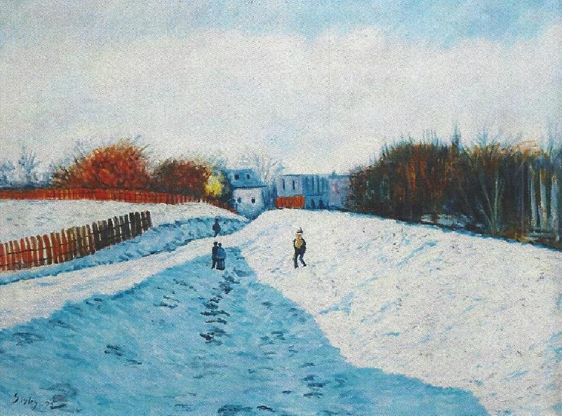 Snow At Louvecien Nes - Alfred Sisley - Oil On Canvas