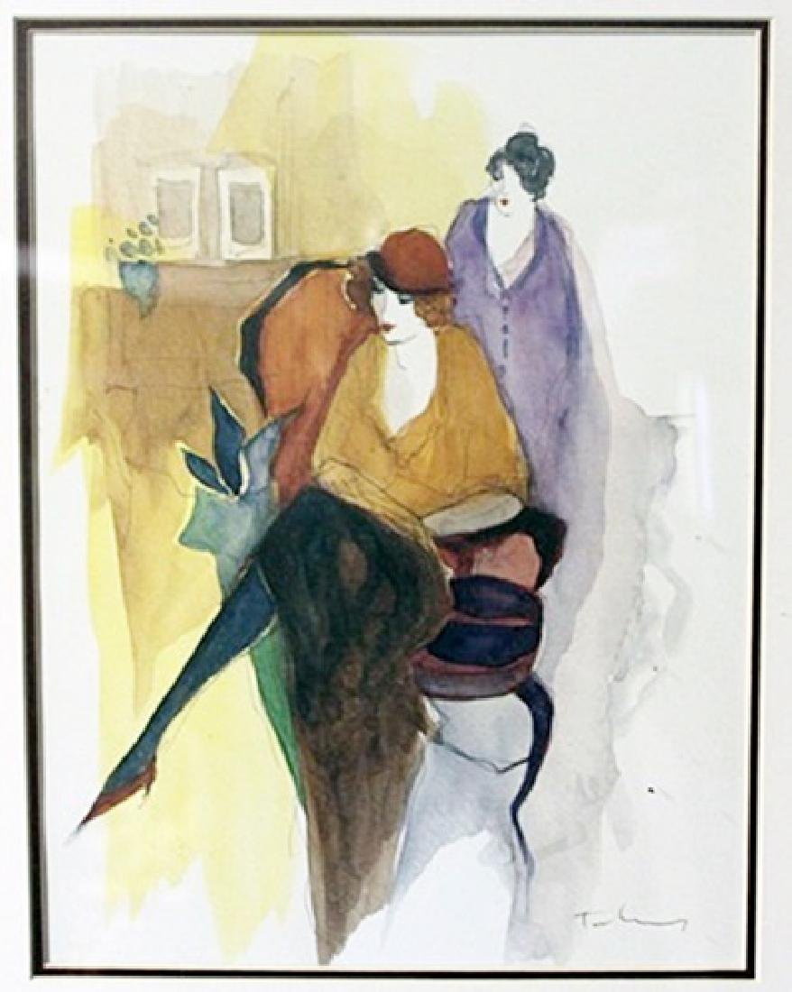 """""""SEATED WOMEN WITH RED HAT"""" by ITZCHAK TARKAY"""