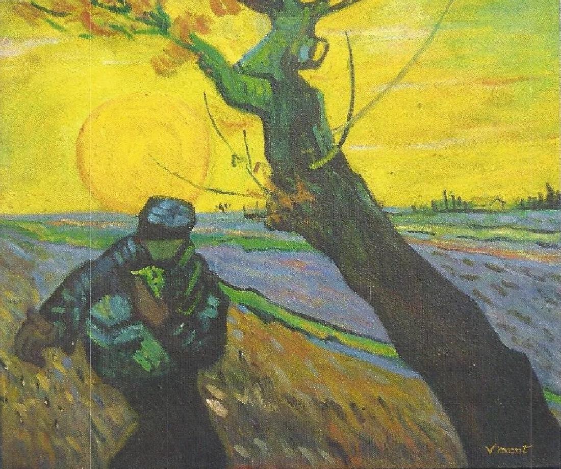The Sower - Vincent Van Gogh - Oil On Canvas