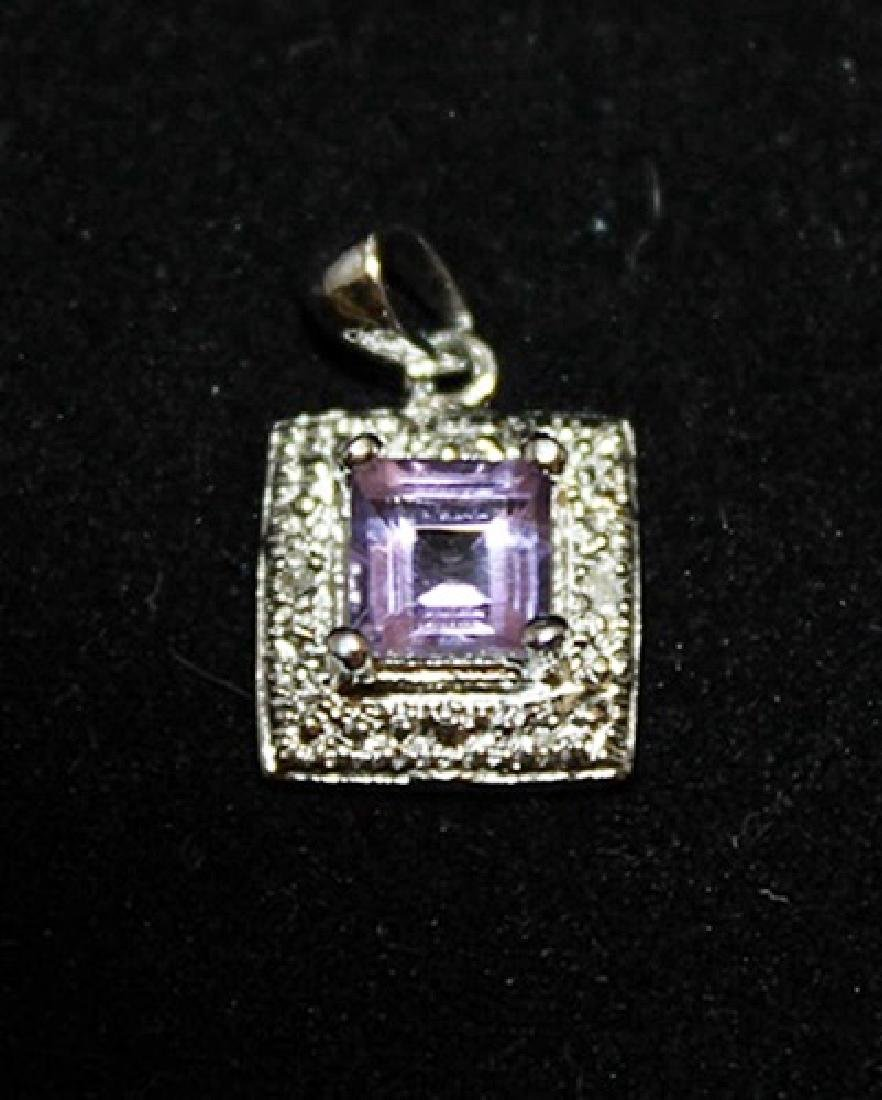 Gorgeous Amethyst & Diamonds Silver Pendant (9P)
