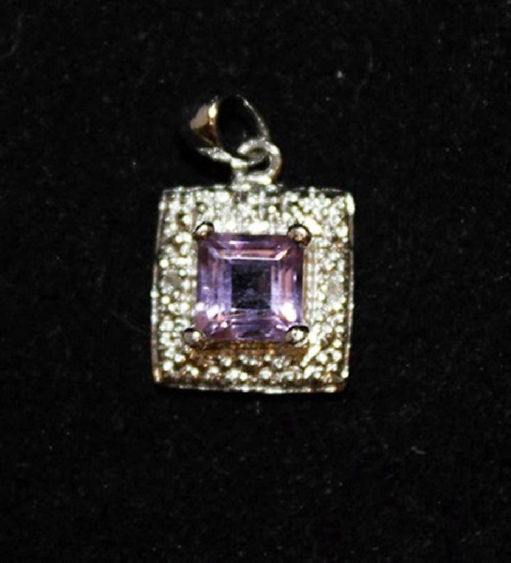 Gorgeous Amethyst & Diamonds Silver Pendant (9P) - 2