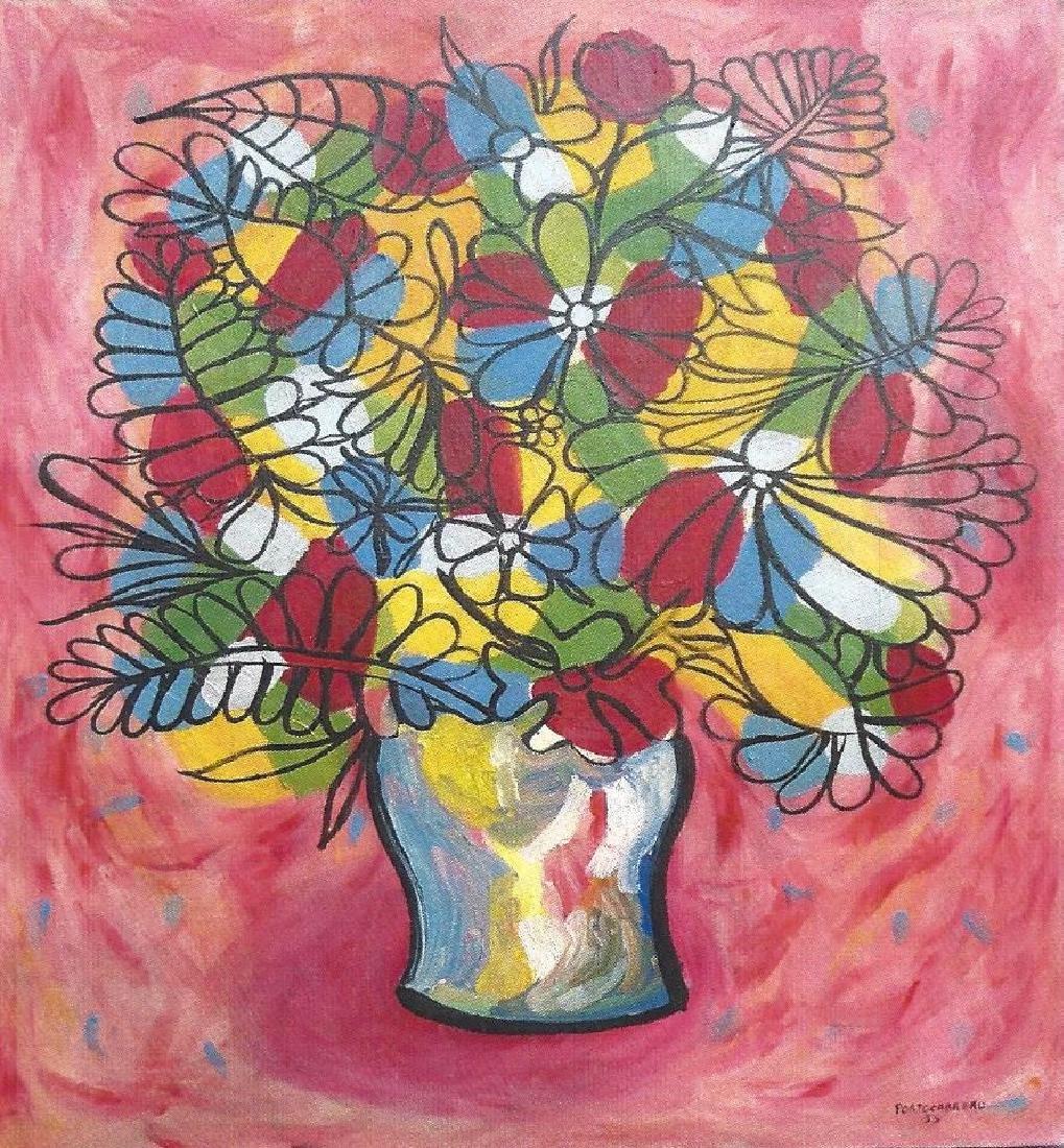 Flowers With Vase - Rene Portocarrero - Oil On Canvas