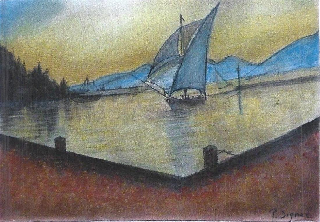The Blue Sail - Paul Signac - Pastel On Paper