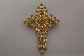 Fancy 14kt Gold Over Silver Cross Citrine & Sapphire