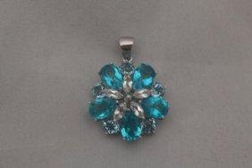 Lavish London Blue Topaz Silver Pendant