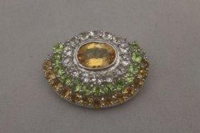 Elegant Sapphire & Peridot Silver Pendant
