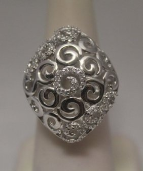 Fancy White Diamonds Silver Ring