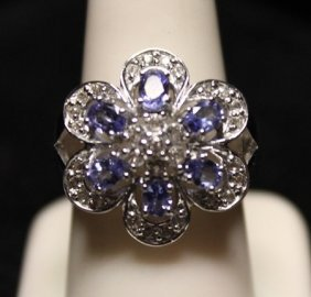 Beautiful Tanzanite & Diamonds Ss Ring