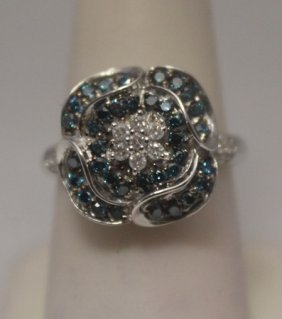 Fine Blue & White Diamonds Silver Ring