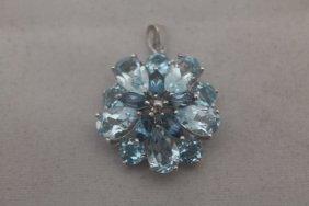 Fancy London Blue Topaz Silver Pendant