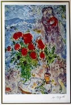 "Lithograph ""red Bouquet"" After Marc Chagall"
