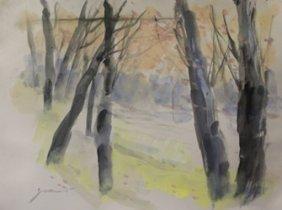 """Original Watercolor On Paper """"autumn Haze"""" By Michael"""