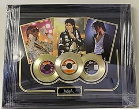 Michael Jackson Giclee With 3 Mini Gold Albums He5061