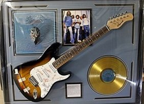 The Eagles Signed Guitar With Bio, Photo And Gold