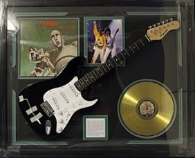 """Memorabilia """"queen"""" Autographed Guitar With Gold Record"""