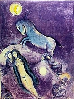 Lithograph By Marc Chagall- He Went Up To The Couch