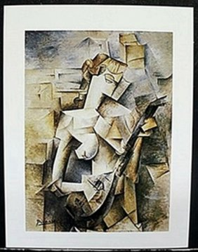 "Lithograph ""lady With A Madoline"" After Pablo Picasso"