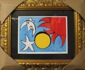 "Lithograph ""man On The Moon"" After Alexander Calder"