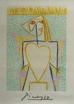 """Lithograph """"Femme Au Buste En Coeur"""" By Pablo Picasso"""
