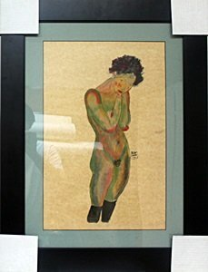 Nude Girl - Gouache on Paper by egon Schiele