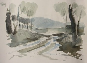 """Original Watercolor on Paper """"Around the Bend"""" by"""
