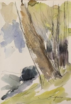 """Original Ink & Watercolor on Paper """"Summer on a Slope"""