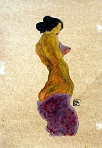 Nude Girl (Standing) - Watercolor Painting - Egon