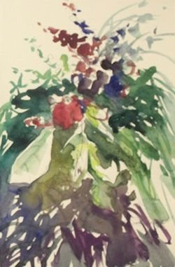 "Original Watercolor on Paper ""Flowers"" by Michael"